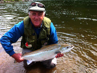 Gary Welsher with a good salmon from the Bigsweir fishery