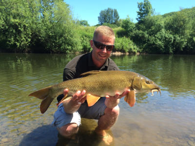 A cracking opening day barbel for Jon Finch from Bankside Tackle and below, the perfect Wye bait combo - hemp and mixed size pellet, available from Bankside Tackle.