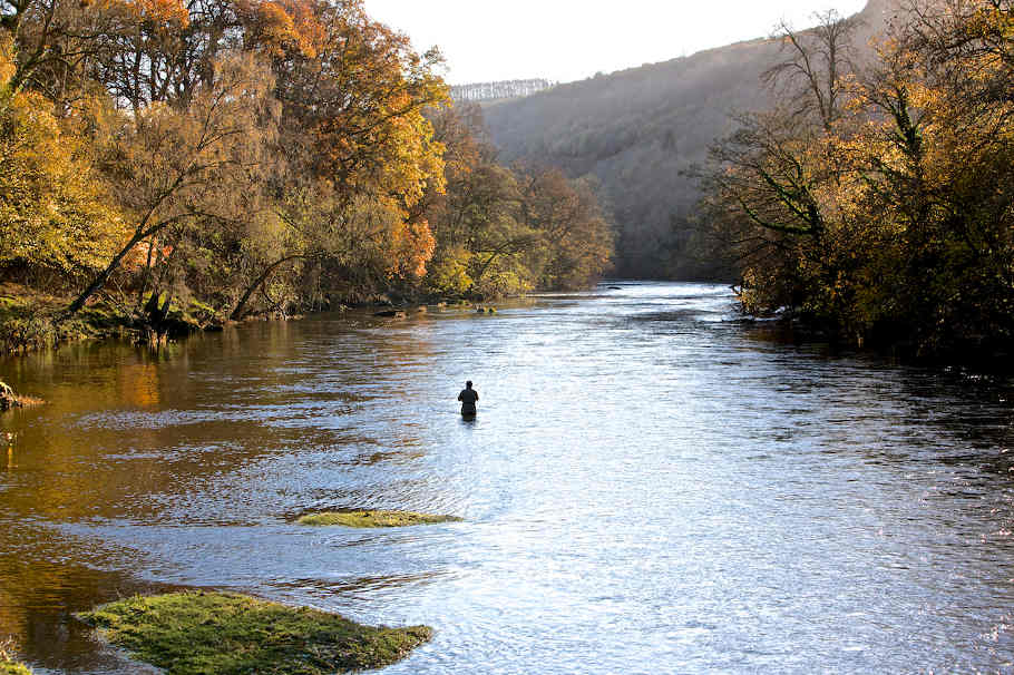 Trotting for grayling on the upper Wye in autumn.