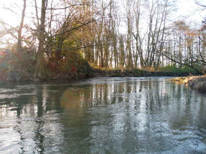 High water conditions on the Lugg in winter. The river usually carries a greyish tinge, even when in low.