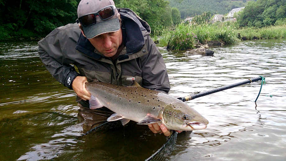 Gary Turner with a 13lb salmon he caught from the Rectory beat of the upper Wye on 24th June