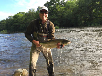 Tim Springham with his first salmon, a 12.5lb fish from the Gromain beat on the upper Wye.