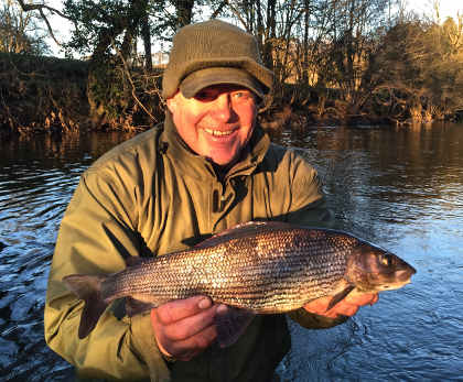 Rich Attwell with his 2lb 14oz grayling