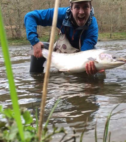 Nick Gibbon and his 16lb salmon from Gromain's Leaning Willow pool on the 15th April
