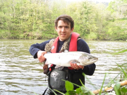 Robert MacDougall-Davis with a 9lb Wye salmon he caught at The Rectory on 1 inch snaelda cascade tube on the 29th April.