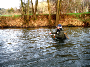 Fishing the Monnow at Skenfrith